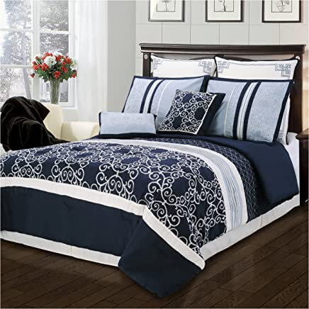 Superior Clarissa 8 Piece Embroidered and Pin-Tucked Comforter Set California King Blue