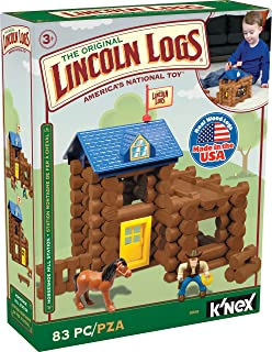 LINCOLN LOGS-Horseshoe Hill Station-83 Pieces-Real Wood Logs - Ages 3+ - Best Retro Building Gift Set for Boys/Girls – Cre...