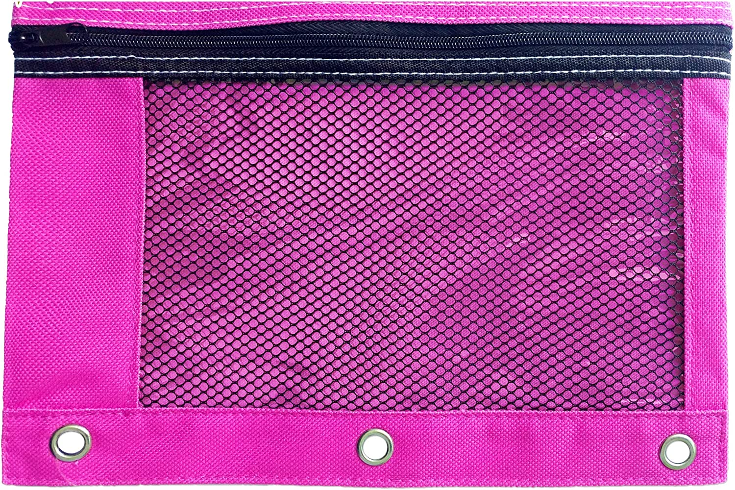 Mega Value 6 Pack for Use in and Out of the Classroom. 3 Ring Colorful Pencil Case with Mesh and plastic window 6 Pack Multi-colored Zippered Pencil Pouch Set by School Smarts