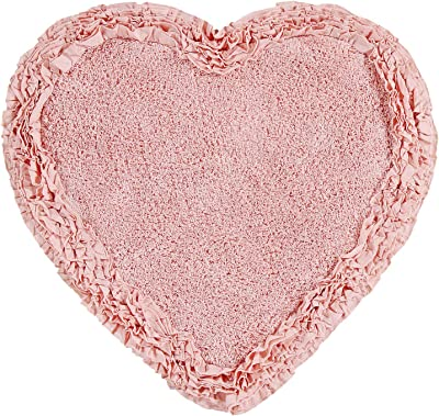 """Better Trends Shaggy Border Collection is Ultra Soft, Plush and Absorbent Tufted Bath Mat Rug 100% Cotton in Vibrant Colors, 30"""" Heart, Pink"""
