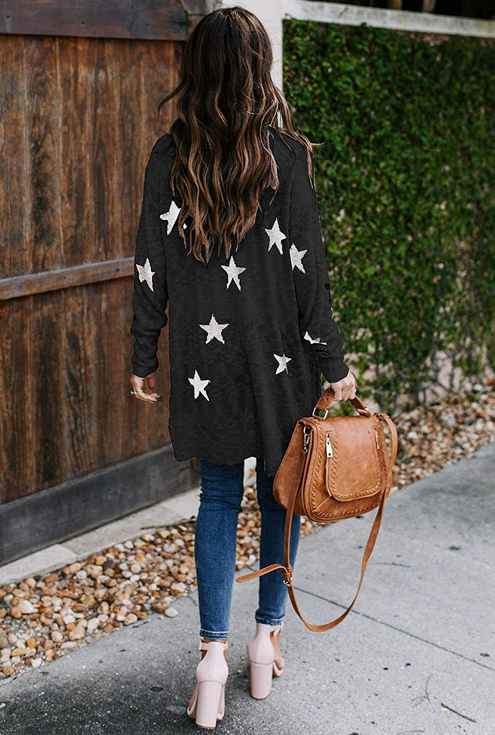 Womens Open Front Button Down Cardigans Plus Size Long Sleeve Star Print Casual Knit Sweater Outwears with Pockets
