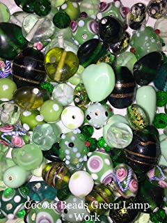 100 Grams or 40-50 Green Mixed Assorted Lamp Work Beads, Size 8mm-20mm, Jewelry Making Beads, Glass & Crystal, Hand Painted, Dichroic by Cocoas Beads