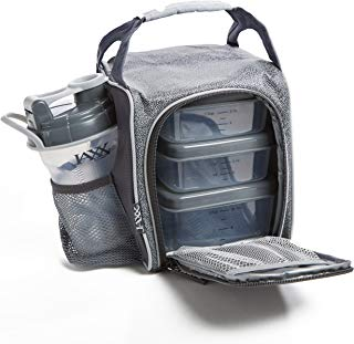 Fit & Fresh Jaxx FitPak Sport Insulated Meal Prep Lunch Bag for Kids and Adults with Reusable Portion Control Container Set and 20 oz. Shaker Cup (Silver Shape Shifter)