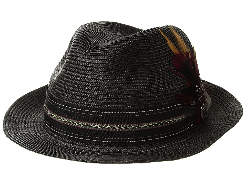 1960s – 70s Style Men's Hats Stacy Adams Poly Braid Pinch Front Fedora with Fancy Band Black Caps $40.00 AT vintagedancer.com