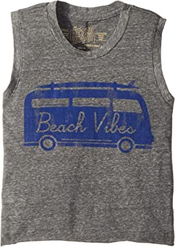 Beach Vibes Vintage Tri-Blend Crop Tank Top (Big Kids)