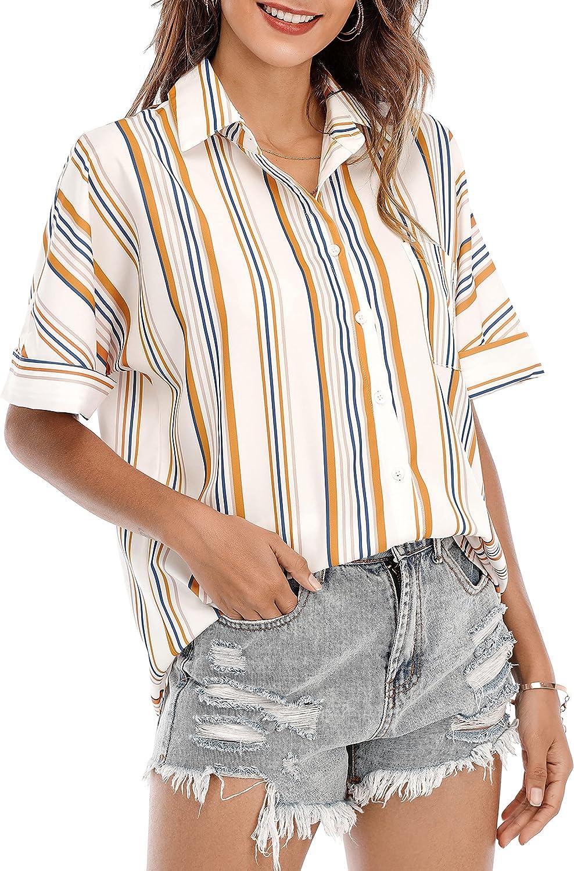 ST. JUBILEENS Women's V-Neck Striped Chiffon Blouses Button Down Pocket Tops Tunic Loose Flowy Shirts (White&Orange, Small)