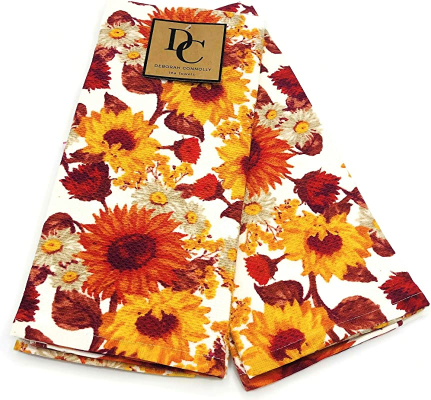 Deborah Connolly Designs Autumn Fall Colorful Sunflowers Set Of 2 Kitchen Towels Soft Absorbent Cotton Dishtowels Decorative Autumn Fall Theme Great For Holiday Baking Cooking Thanksgiving