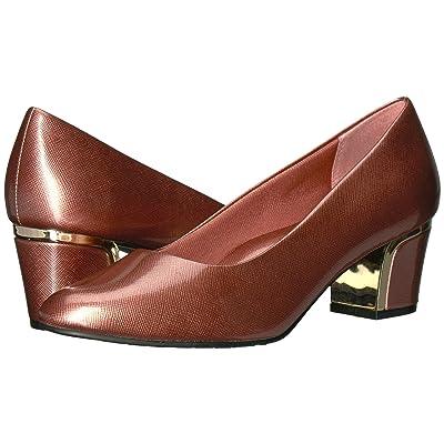 Soft Style Deanna (Antique Rose Cross Hatch Patent/Gold Heel) Women