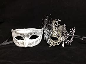 His & Hers Masquerade Couples Venetian Design Masks - 2 Piece Silver Colored Set - Perfect Couple Mardi Gras Long Swan Party Halloween Ball Prom by Unknown
