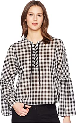 McQ Laced Gather Sleeve Top