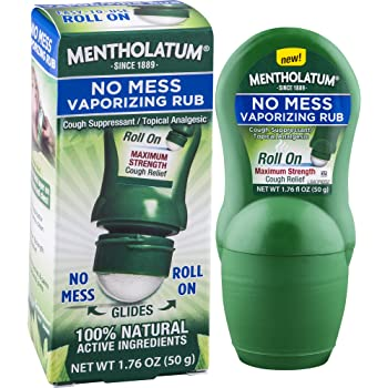 Mentholatum No Mess Vaporizing Rub with Easy-to-use Roll On Applicator, 1.76 Ounce (50g) - 100% Natural Active Ingredients for Maximum Strength Cough Relief