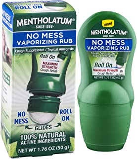 Sponsored Ad - Mentholatum No Mess Vaporizing Rub with Easy-to-use Roll On Applicator, 1.76 Ounce (50g) - 100% Natural Act...
