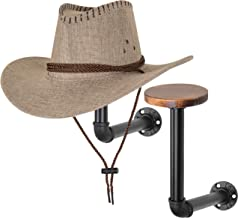 MyGift Metal Pipe & Wood Wall Mounted Hat & Wig Holder, Set of 2