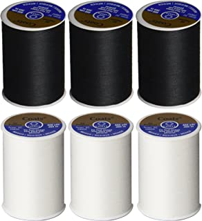 6 Pack Bundle - (3 Black + 3 White) - Coats & Clark Dual Duty All-Purpose Thread - Three 400 Yard Spools each of BLACK & W...