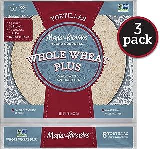 Maria & Ricardo's Whole Wheat Plus Tortillas. (3 Pack) 4 Net Carbs, High Fiber, 3g Protein. Non GMO PV, Vegan. Kosher.