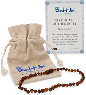 Amber Teething Necklace for Babies (Unisex) (Cognac Raw & Polished) - Anti Inflammatory, Drooling & Teething Pain Reduce Properties - Natural Certificated Oval Baltic Jewelry with The Highest Quality
