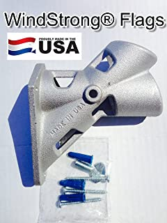 1.25 Inch Aluminum Flagpole Bracket 2-Position Commercial Use Includes Hardware WindStrong Made in the USA