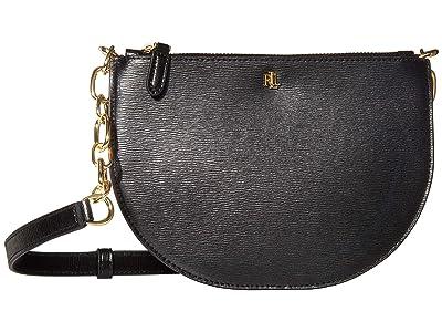 LAUREN Ralph Lauren Saffiano Sutton 22 Crossbody Medium (Black) Handbags