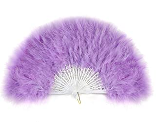BABEYOND Roaring 20s Vintage Style Folding Handheld Flapper Marabou Feather Hand Fan for Costume Halloween Dancing Party T...