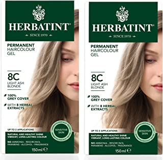 Herbatint 8C Light Ash Blonde Permanent Haircolor (Pack of 2) Alcohol and Ammonia Free