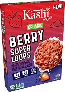 Kashi by Kids, Organic, Super Loops, Berry, Cereal, A Kid Favorite, Gluten-Free, Breakfast, 9.5 oz, Pack of 10