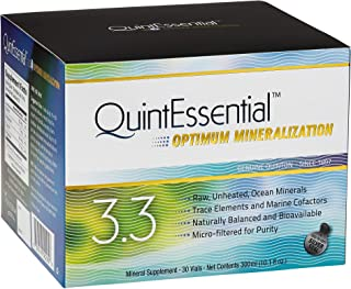 QuintEssential 3.3 - Concentrated + Pure Seawater Electrolyte Liquid Minerals for Athletic Performance + Energy Support, Marine-Rich Complex (30 Single Serving Vials)
