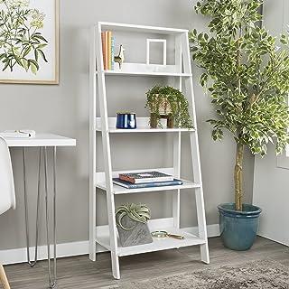 Walker Edison 4 Shelf Simple Modern Wood Ladder BookcaseTall Bookshelf Storage Home..