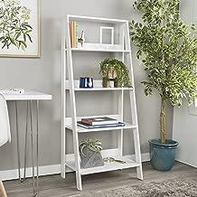 WE Furniture 4 Shelf Simple Modern Wood Ladder Bookcase Bookshelf Storage, White