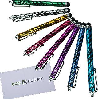 ECO-FUSED® 8-pack med färgglada zebra styluspennor! Åtta långa (röd, lila, het rosa, ljusblå, blå, grön, guld, silver) sty...