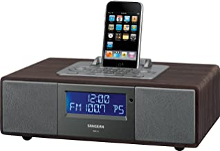 Sangean WR-5 FM-RBDS/AM/Aux-in Tabletop Wooden Cabinet Receiver Compatible with iPod, 12 Memory Preset Stations (6 FM, 6 AM), iPod Cradle Plays and Charges any iPod, Comprehensive iPod Dock Adjuster