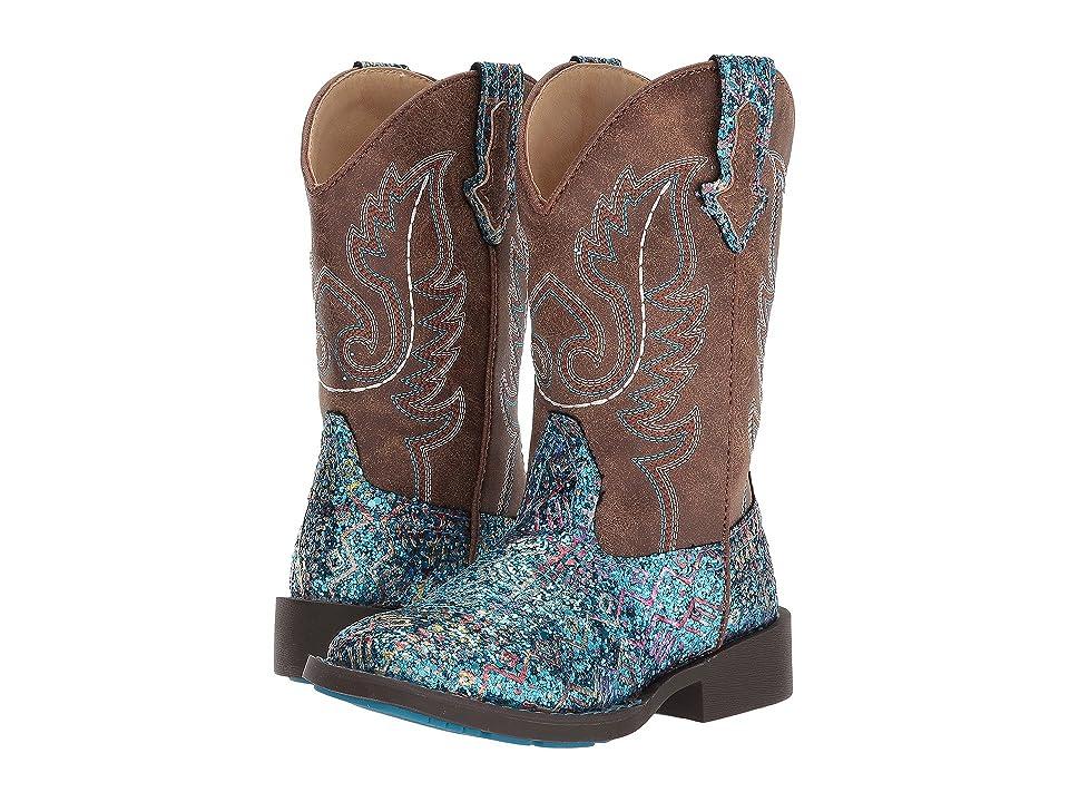 Roper Kids Glitter Aztec (Toddler/Little Kid) (Blue Faux Glitter Vamp/Brown Shaft) Cowboy Boots