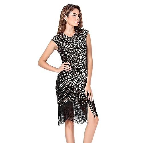 Women's 1920s Style Beaded Deco Flapper Dress Vintage Inspired Sequin Embellished Fringe Gatsby Dress