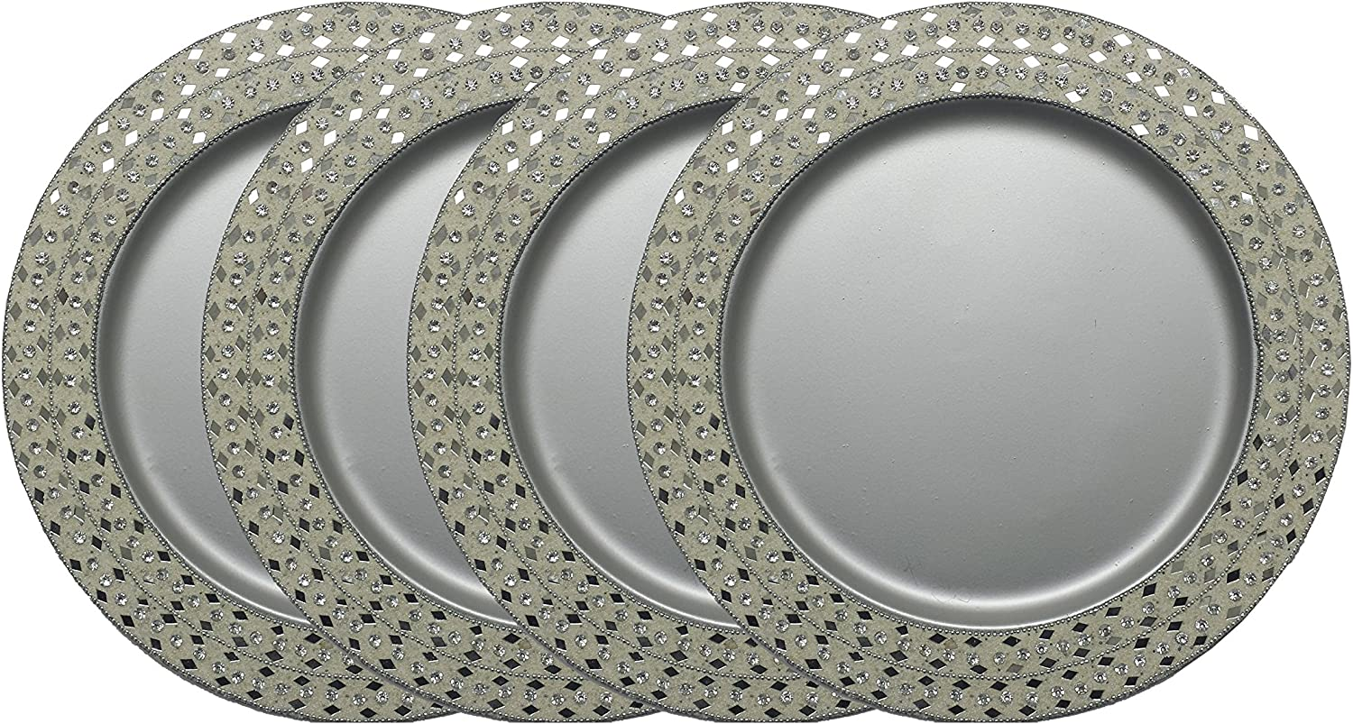 GiftBay Wedding Charger Plates Metal, 13  Round, Set of 4 Plates, Beautifully Handcrafted at Border with Thousands of Tiny Beads and Mirror Glass Pieces (Silver)