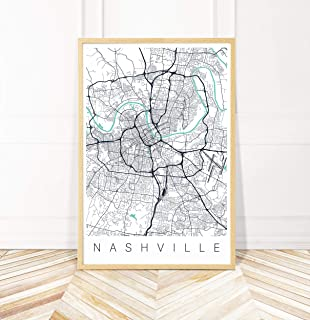Nashville Map Art Print - Map of Nashville Tennessee - Series II