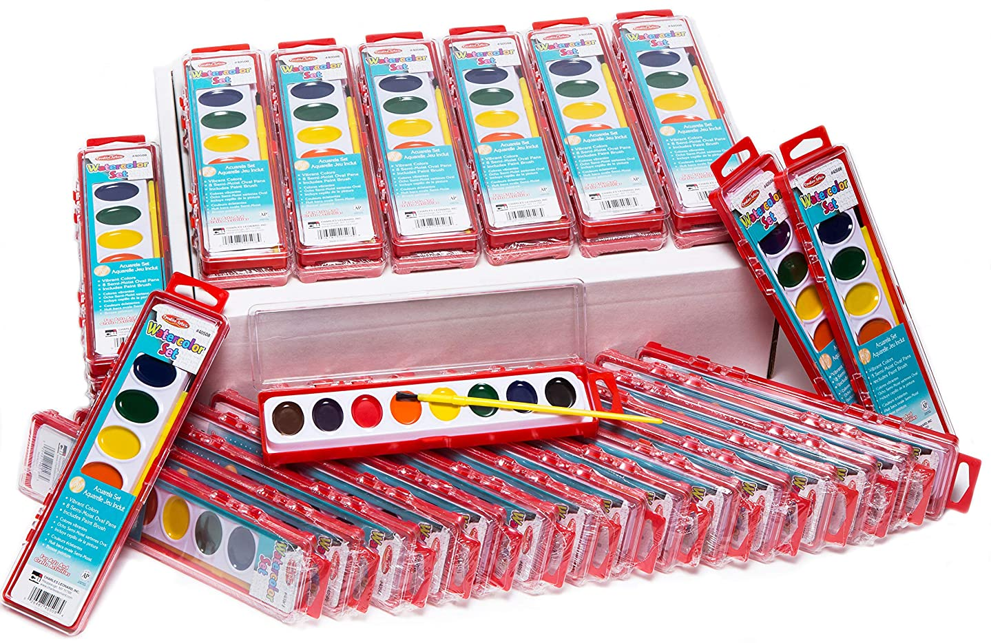 Charles Leonard Watercolor Paint Sets - 8-Color Oval Pan with Brush, Sold as a Bundle of 36 Sets (40536)