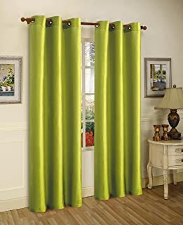 Gorgeous Home *DIFFERENT SOLID COLORS & SIZES* (#72) 2 PANELS SOLID THERMAL FOAM LINED BLACKOUT HEAVY THICK WINDOW CURTAIN DRAPES BRONZE GROMMETS (LIME GREEN, 84