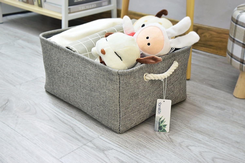 Familion Fabric Storage Basket Rectangular 16.5 x 12.5 Large Decorative Basket for Shelf Rectangle Storage Bin Soft Bin Organizer for Toys Clothes Magazines Books CDs Miscellaneous Items Grey
