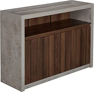 ioHOMES Broxo Industrial Buffet Table with Open Shelf, Slatted Cabinet Doors, Flat Rested Base, Walnut and Cement