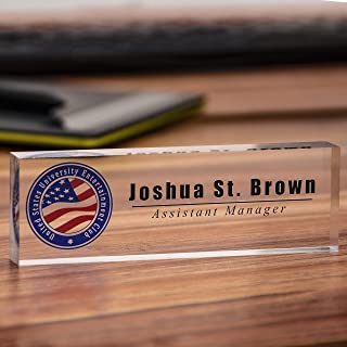 Acrylic Desk Nameplate Office Decor Desk Bar Custom Personalized Name, Title & Logo on Clear Acrylic Block Customized Desk Plate Accessories Appreciation Gift (7``x 1.97``)