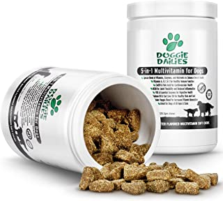 Doggie Dailies 5 in 1 Multivitamin for Dogs, 225 Soft Chews, Grain Free Dog Multivitamin for Skin and Coat Health, Joint Health, Improved Digestion, Heart Health and Enhanced Immunity, Made in the USA