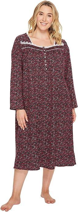 Eileen West - Plus Size Jersey Ballet Long Sleeve Nightgown
