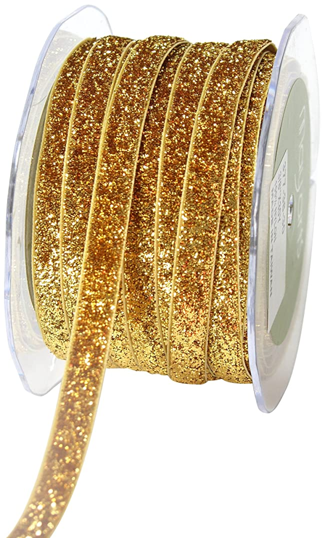 May Arts 3/8-Inch Wide Ribbon, Gold Metallic Velvet