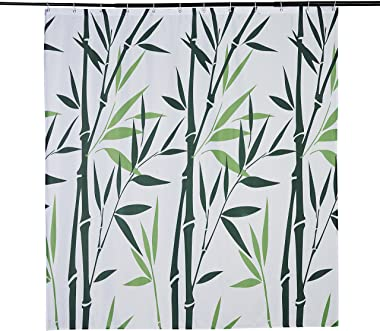 Beddinginn Plant Shower Curtain Green Bamboo Print Shower Curtains for Bathroom Waterproof Shower Decor 71×79 Inches
