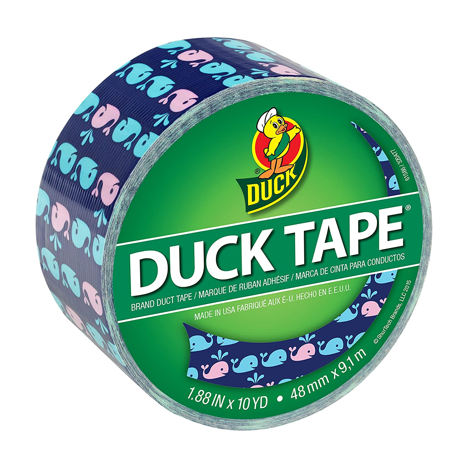 Duck Brand 284169 Printed Duct Tape, Whale of a Time, 1.88 Inches x 10 Yards, Single Roll