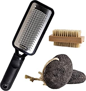 PEDICARE Foot Scrubber Callus Remover with 2 Natural Pumice Stones and Wood Nail Brush, Pedicure Foot Rasp for Dry Skin, Cracked Feet, Corn Removal and Exfoliation