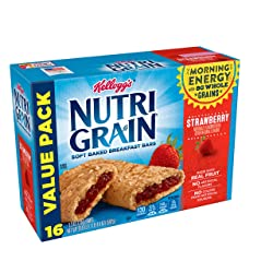 Kellogg's Nutri-Grain, Soft Baked Breakfast Bars, Strawberry, Made with Whole Grain, Value Pack, 20.