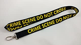 Crime Scene Do Not CrossBlack Lanyard with clip for keys or id badges. Great for work id badge, school id badge, car keys, house keys. Perfect for CSI fans, forensic students. (1)