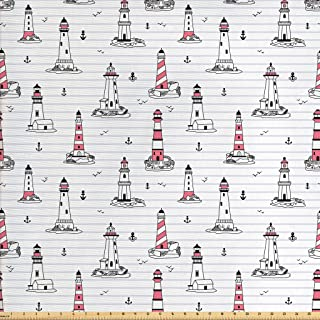 Ambesonne Lighthouse Fabric by The Yard, Notebook Pattern with Nautical Elements Seagulls and Anchors Doodle Style, Decorative Fabric for Upholstery and Home Accents, 1 Yard, Black Lilac