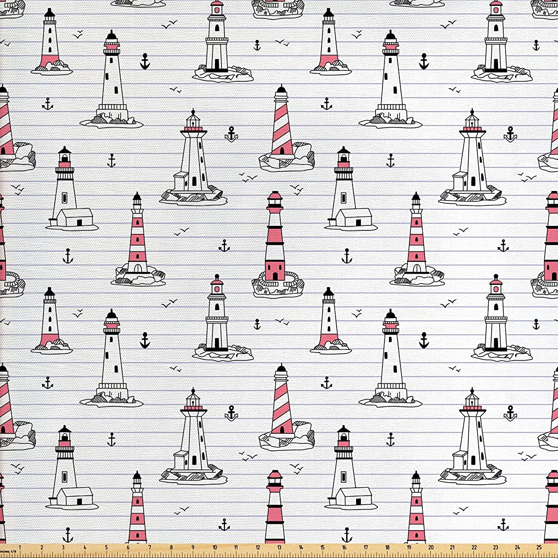 Ambesonne Lighthouse Fabric by The Yard, Notebook Pattern with Nautical Elements Seagulls and Anchors Doodle Style, Decorative Fabric for Upholstery and Home Accents, 3 Yards, Pink Lilac Black