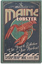 Bar Harbor, Maine - Lobster Vintage Sign (10x15 Wood Wall Sign, Wall Decor Ready to Hang)